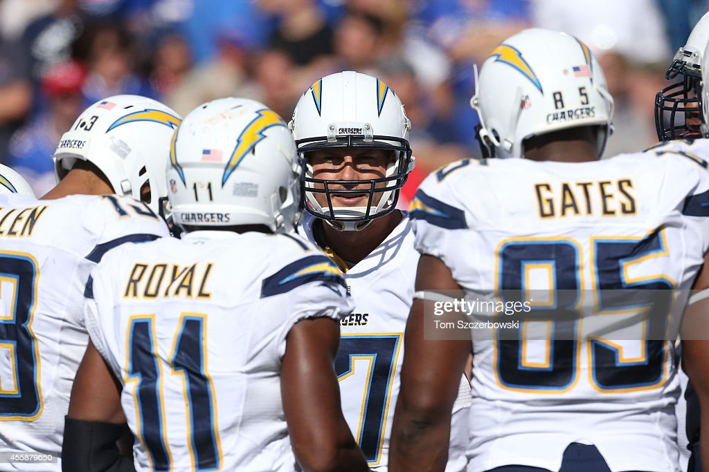 Philip Rivers #17 of the San Diego Chargers talks in the huddle during the second halfagainst the Buffalo Bills at Ralph Wilson Stadium on September 21, 2014 in Orchard Park, New York.