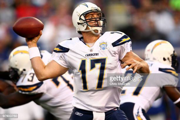 Philip Rivers of the San Diego Chargers throws a pass against the New York Giants on November 8 2009 at Giants Stadium in East Rutherford New Jersey