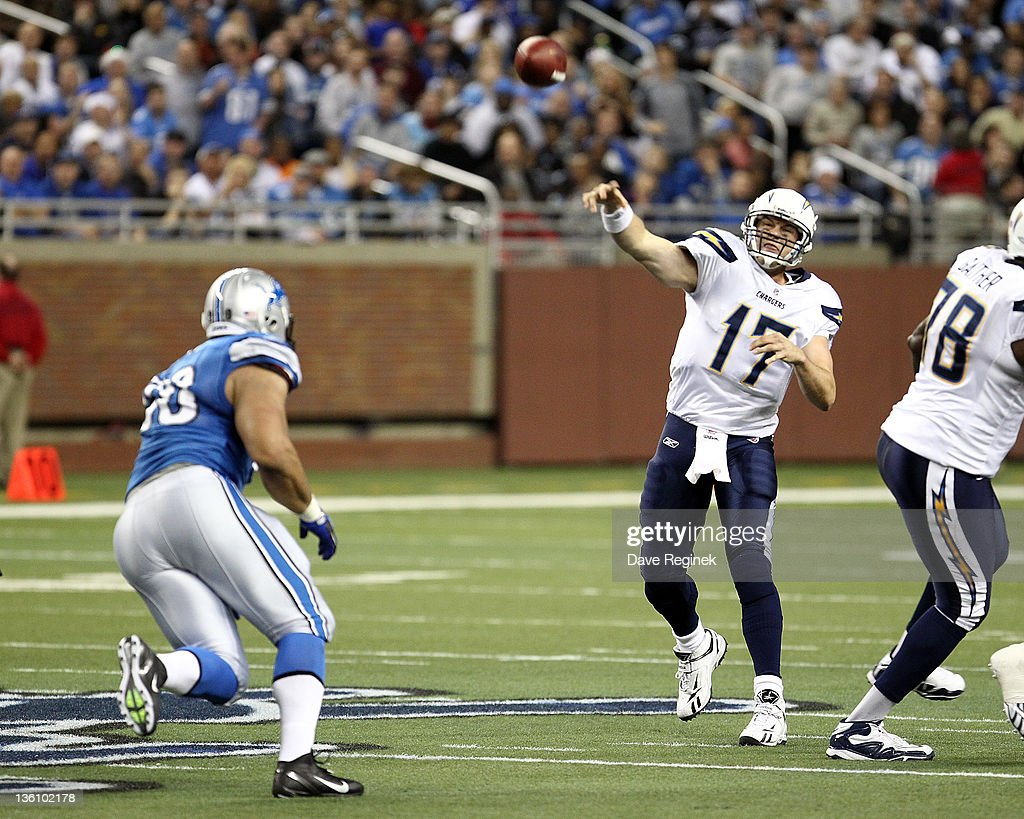 Philip Rivers #17 of the San Diego Chargers throws down field during a NFL game against the Detroit Lions at Ford Field on December 24, 2011 in Detroit, Michigan. The Lions won 38-10