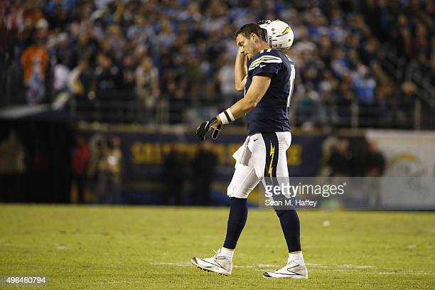Philip Rivers of the San Diego Chargers walks off the field while playing the Chicago Bears at Qualcomm Stadium on November 9 2015 in San Diego...