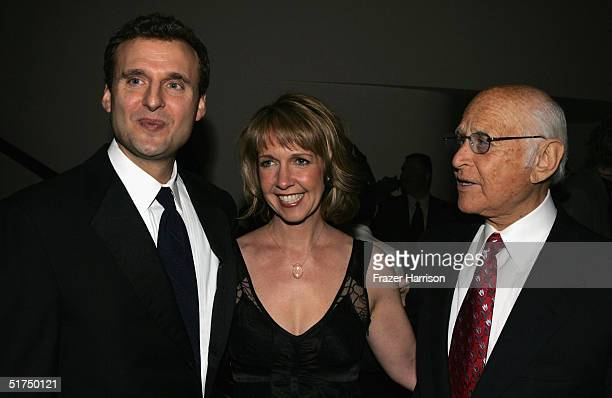 Philip Rosenthal exec producer with producers Monica Horan and Norman Lear at The Museum of Television Radio gala who honored ABC news' Barbara...