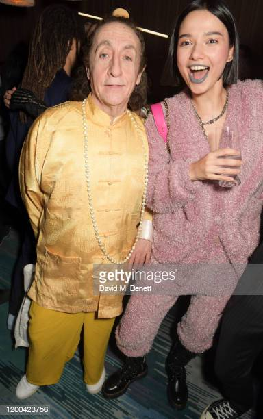 Philip Sallon and Anna Kuprienko of Bloom Twins attend the NME Awards after party in association with Copper Dog at The Standard on February 12 2020...