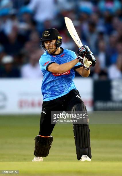 Philip Salt of Sussex bats during the Vitality Blast match between Sussex Sharks and Surrey at The 1st Central County Ground on July 13 2018 in Hove...