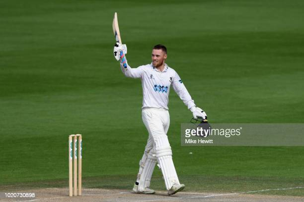 Tony Palladino of Derbyshire in action during the Specsavers County Championship Division Two match between Sussex and Derbyshire at The 1st Central...