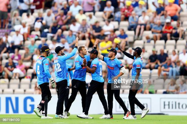 Philip Salt of Sussex celebrates with teammates after catching Colin Munro of Hampshire during the Vitality Blast match between Hampshire and Sussex...
