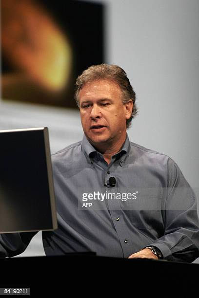 Philip Schiller Senior Vice President of Worldwide Marketing at Apple Inc gives the keynote address at the Macworld Expo 2009 in San Francisco on...