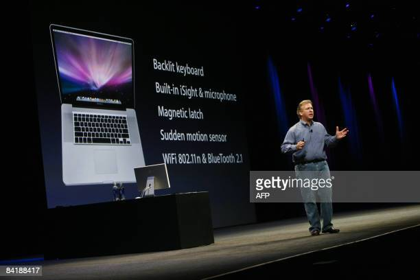 Philip Schiller vice president of Apple Inc gives the keynote address at the Macworld Expo 2009 in San Francisco on January 6 2009 Schiller announced...