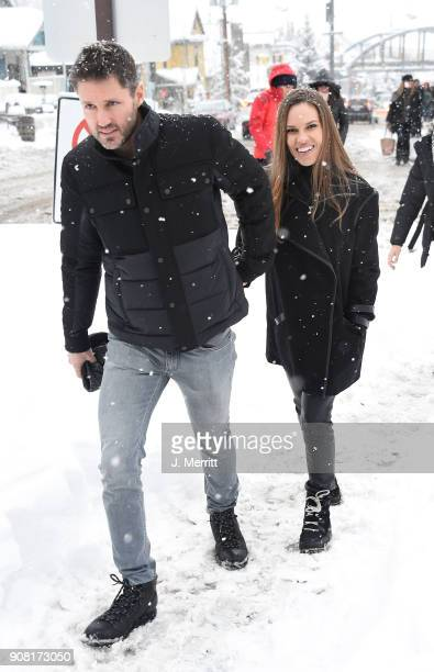 Philip Schneider and Hilary Swank are seen in SOREL Style Around Park City Day 2 on January 20 2018 in Park City Utah