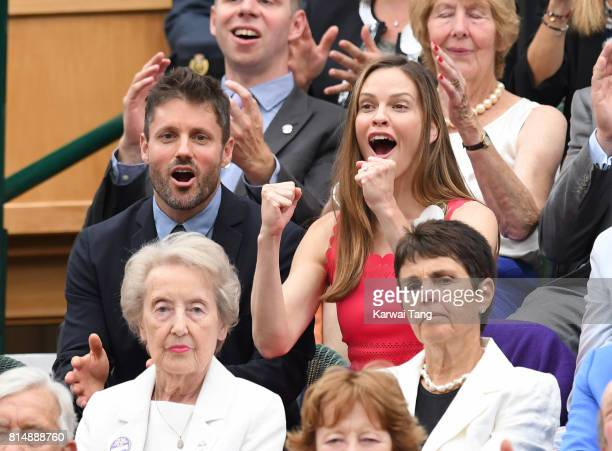 Philip Schneider and Hilary Swank attend day twelve of the Wimbledon Tennis Championships at the All England Lawn Tennis and Croquet Club on July 15...