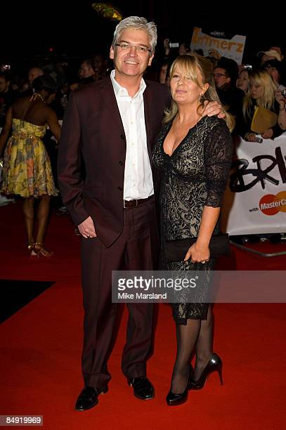 Philip Schofield and his wife Stephanie Lowe arrives at the BRIT Awards 2009 at Earls Court on February 18th 2009 in London England