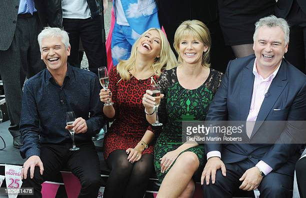 Philip Schofield Holly Willoughby Ruth Langsford and Eamonn Holmes pose at a photocall as 'This Morning' celebrates 25 years on air at Albert Dock on...