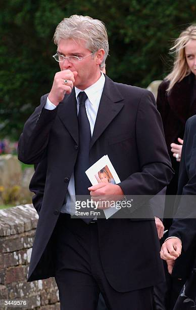 Philip Schofield leaves the Funeral of Caron Keating following her death from breast cancer last week at Hever Church in Edenbridge on April 20 2004...