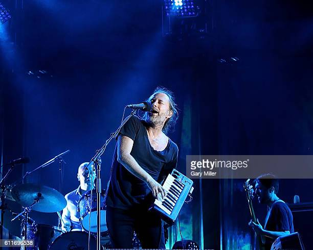 Philip Selway Thom Yorke and Colin Greenwood of Radiohead perform in concert during the Austin City Limits Music Festival at Zilker Park on September...