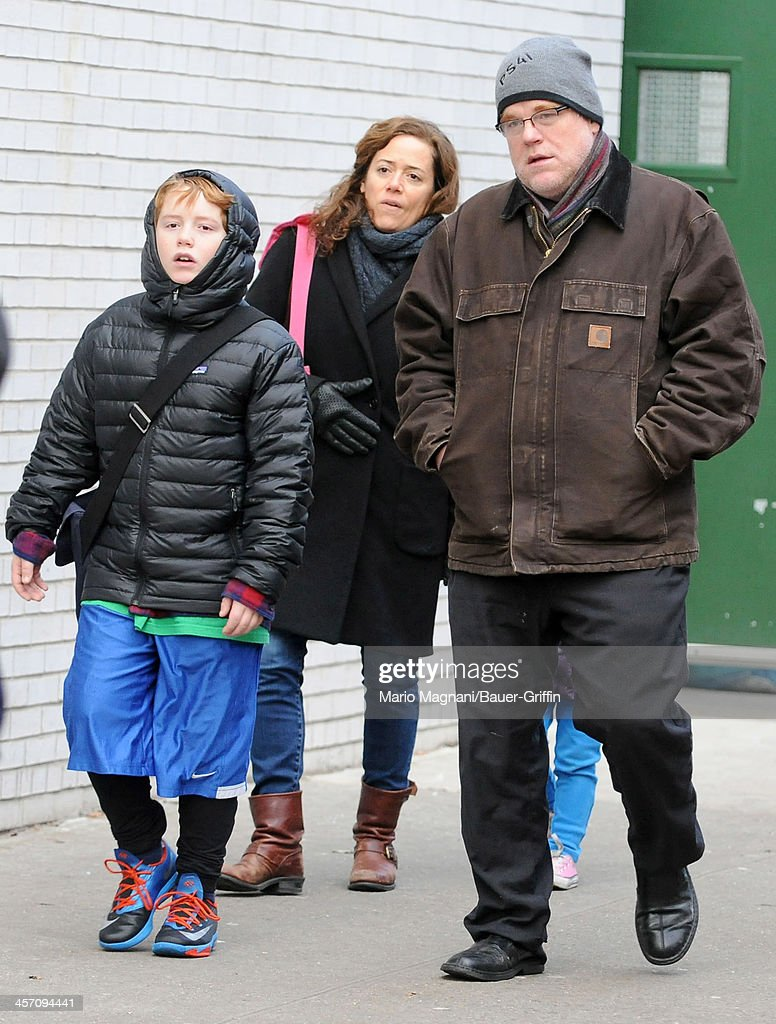Philip Seymour Hoffman and Mimi O'Donnell with Cooper Hoffman are seen on December 16, 2013 in New York City.