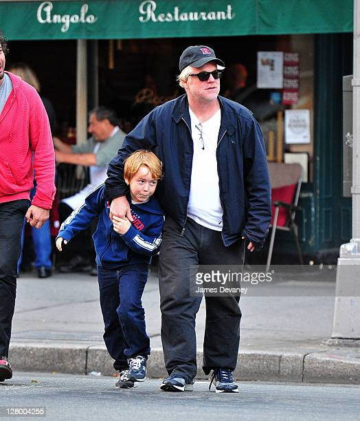 Philip Seymour Hoffman and son Cooper Alexander Hoffman seen walking in the West Village on October 4 2011 in New York City