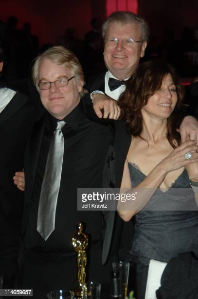 """Philip Seymour Hoffman, winner Best Actor in a Leading Role for """"Capote"""", Sir Howard Stringer of Sony and Catherine Keener, nominee Best Actress in a..."""