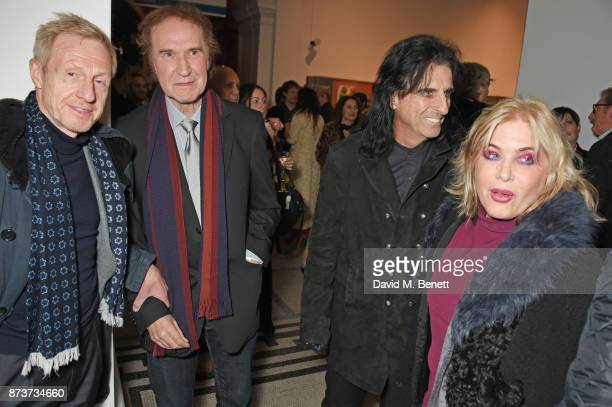 Philip Start Sir Ray Davies Alice Cooper and Brix SmithStart attend the unveiling of 'The Adoration Trilogy Searching For Apollo' by Alistair...