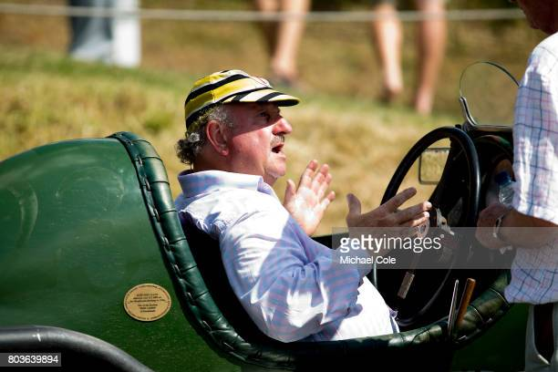 Philip Strickland in a vintage Bentley on the recently restored and rejoined Finishing Straight at Brooklands Racing Circuit on June 18th 2017 in...