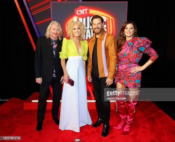 Philip Sweet, Kimberly Schlapman, Jimi Westbrook and Karen Fairchild of musical group Little Big Town attend the 2021 CMT Music Awards at Bridgestone...