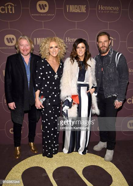 Philip Sweet Kimberly Schlapman Karen Fairchild and Jimi Westbrook of Little Big Town attend the Warner Music Group PreGrammy Party in association...