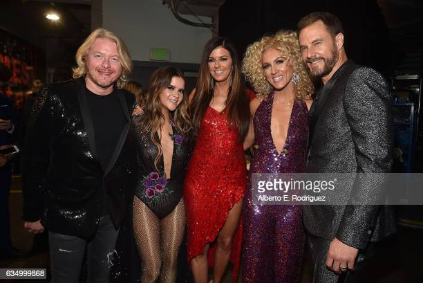 Philip Sweet Maren Morris Karen Fairchild Kimberly Schlapman and Jimi Westbrook backstage at The 59th GRAMMY Awards at STAPLES Center on February 12...