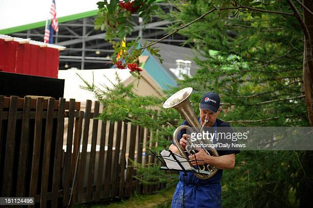 Philip Tait plays the Alaska Flag Song on his baritone oat the Alaska State Fair in Palmer ALaska Saturday September 1 2012 Tait is a cook at the...