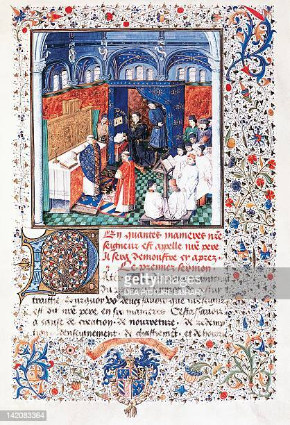 Philip the Good listening to a mass sung by the choir of Burgundy miniature from the Treaty on Sunday Prayer manuscript folio 9 recto The Netherlands...