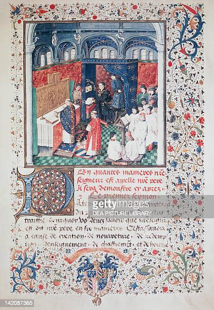 Philip the Good listening to a mass sung by the choir of Burgundy miniature from the Treaty on Sunday Prayerecto manuscript folio 9 recto The...