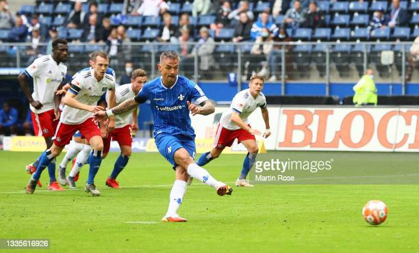 Philip Tietz of SV Darmstadt 98 scores their side's first goal from the penalty spot during the Second Bundesliga match between Hamburger SV and SV...