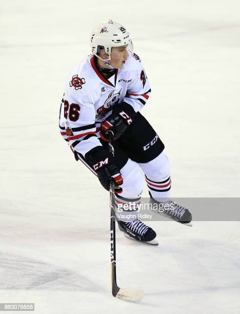 Philip Tomasino of the Niagara IceDogs skates during an OHL game against the Mississauga Steelheads at the Meridian Centre on November 25 2017 in St...