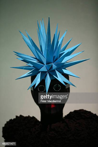 Philip Treacy electric blue spiked hat from 1999 is displayed at the Isabella Blow Fashion Galore exhibition at Somerset House on November 19 2013 in...