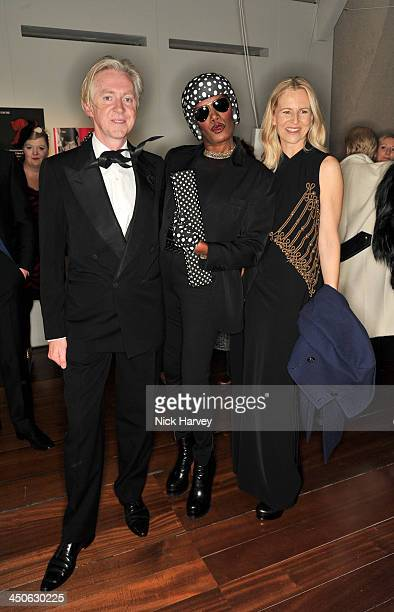 Philip Treacy Grace Jones and Alannah Weston attend the private view of Isabella Blow Fashion Galore Party at Somerset House on November 19 2013 in...
