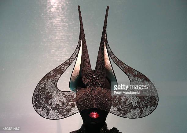 Philip Treacy Victorian lace hat from 2001 is displayed at the Isabella Blow Fashion Galore exhibition at Somerset House on November 19 2013 in...