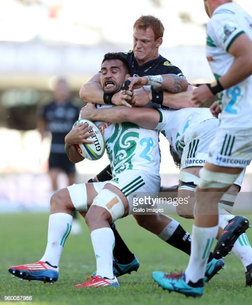 Philip van der Walt of the Cell C Sharks tackling Liam Messam of the Gallagher Chiefs during the Super Rugby match between Cell C Sharks and Chiefs...