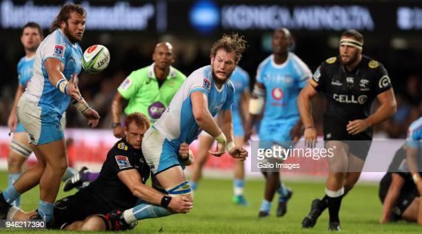 Philip van der Walt of the Cell C Sharks tackling RG Snyman of the Vodacom Blue Bulls during the Super Rugby match between Cell C Sharks and Vodacom...