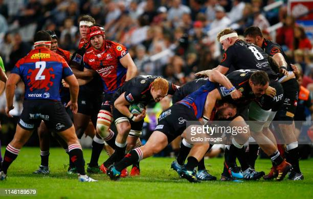 Philip van der Walt of the Cell C Sharks with ball on attack during the Super Rugby match between Cell C Sharks and Emirates Lions at Jonsson Kings...
