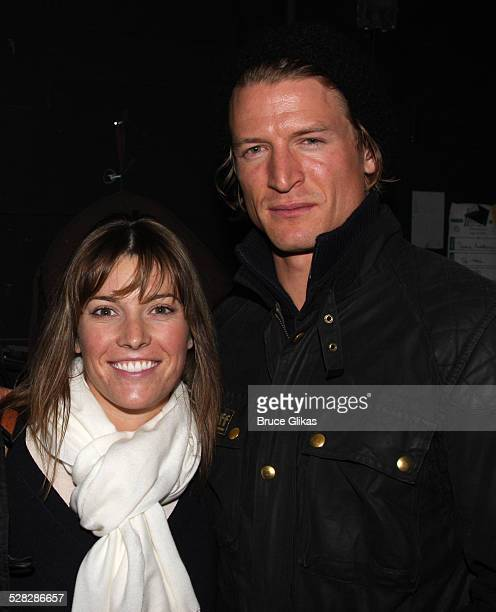 Philip Winchester and fiancee Megan Coughlin pose backstage at Spring Awakening on Broadway on October 18 2008 in New York City