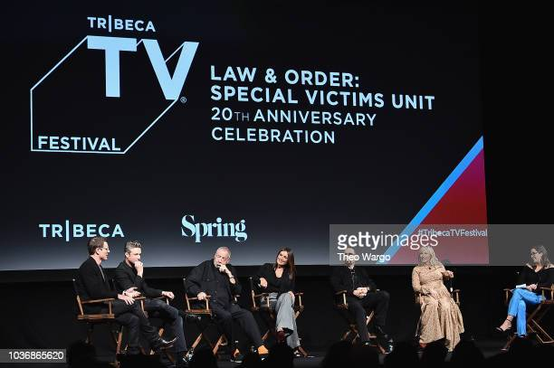 Philip Winchester Peter Scanavino Dick Wolf Mariska Hargitay IceT Kelli Giddish and Savannah Sellers speak onstage at the Law Order SVU 20th...