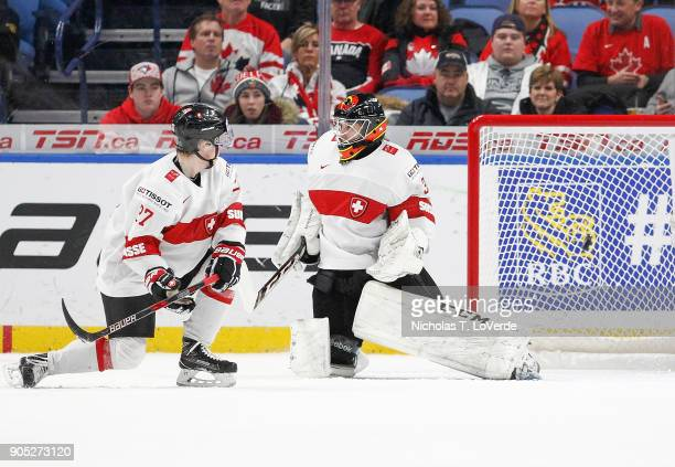 Philip Wüthrich of Switzerland gets beat for a goal by Canada during the second period of play in the Quarterfinal IIHF World Junior Championship...