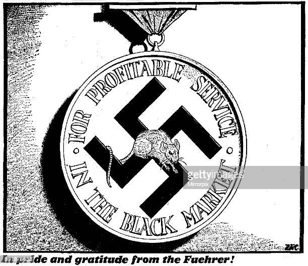 Philip Zec In pride and gratitude from the Fuehrer 7th March 1942 One of a short series of cartoons run in the Daily Mirror in March 1942 attacking...