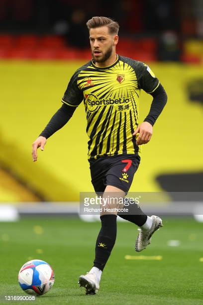 Philip Zinckernagel of Watford in action during the Sky Bet Championship match between Watford and Swansea City at Vicarage Road on May 08, 2021 in...