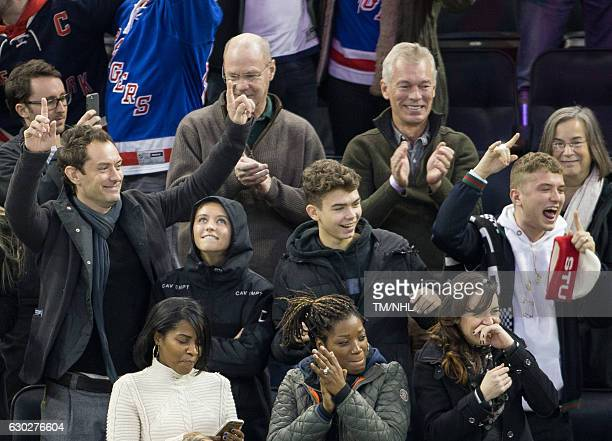 Philipa Coan Jude Law Iris Law Rudy Law and Rafferty Law are seen at Madison Square Garden on December 18 2016 in New York City