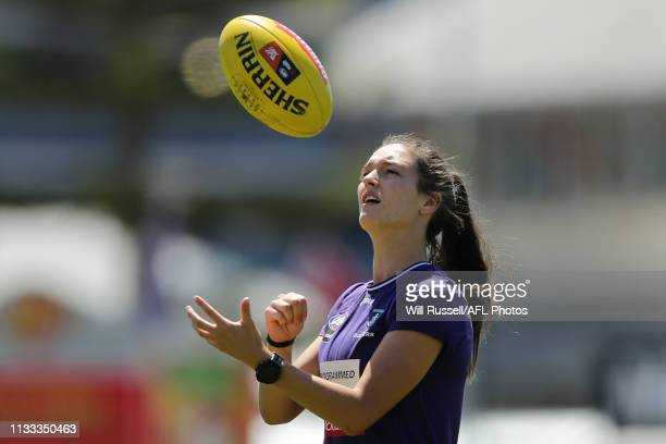 Philipa Seth of the Dockers warms up before the round five AFLW match between the Fremantle Dockers and the Western Bulldogs at Fremantle Oval on...