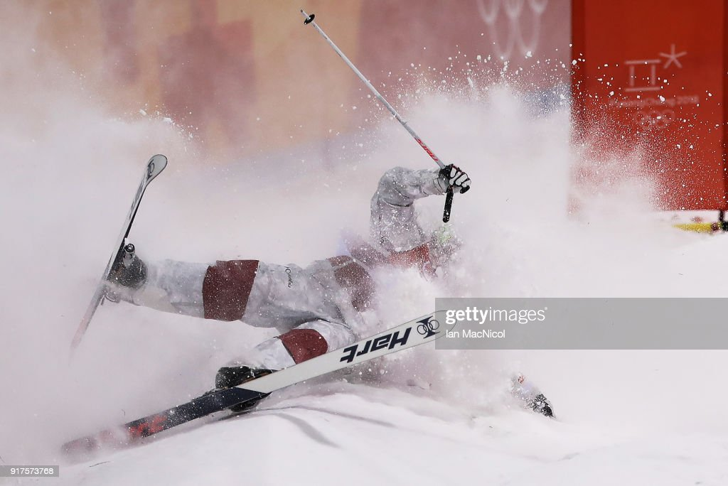 Philipe Marquis of Canada competes in the Men's Moguls at Phoenix Snow Park on February 12, 2018 in Pyeongchang-gun, South Korea.