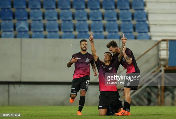 Philipe Sampaio of CD Feirense celebrates after scoring a goal during the Portuguese League Cup match between GD Estoril Praia and CD Feirense at...