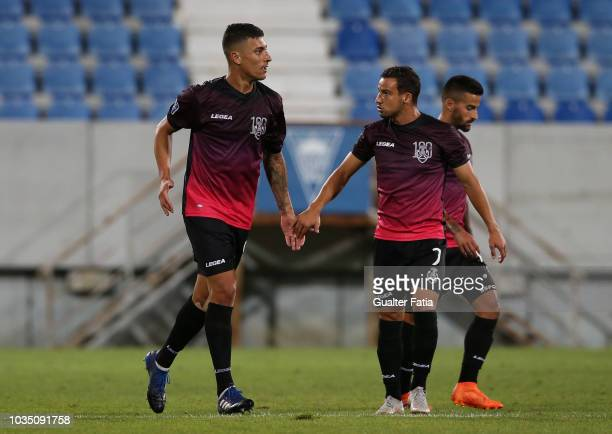 Philipe Sampaio of CD Feirense celebrates with teammate Luis Machado of CD Feirense after scoring a goal during the Portuguese League Cup match...