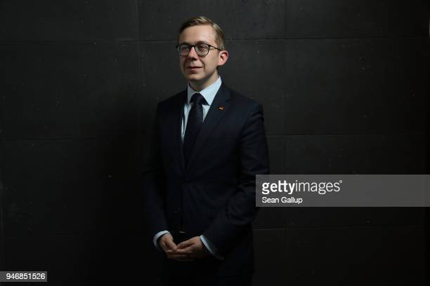 Philipp Amthor a politician of the German Christian Democrats in the Bundestag poses for a photo before speaking to the Foreign Journalists'...