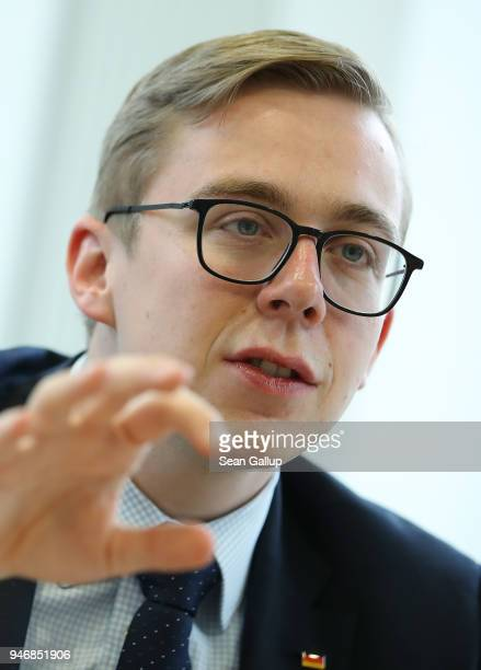 Philipp Amthor a politician of the German Christian Democrats in the Bundestag speaks to the Foreign Journalists' Association on April 16 2018 in...
