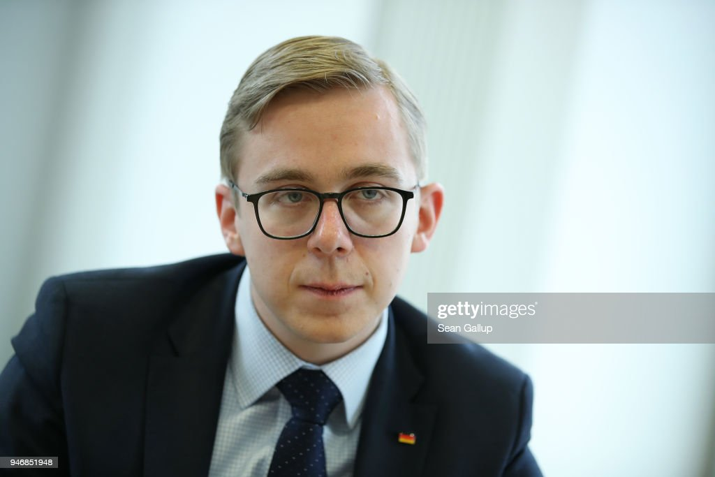 Philipp Amthor, a politician of the German Christian Democrats (CDU) in the Bundestag, speaks to the Foreign Journalists' Association on April 16, 2018 in Berlin, Germany. Amthor, at 25 the second-youngest Bundestag member, has been dubbed the CDU's 'secret weapon' at countering the right-wing Alternative for Germany (AfD) through his conservative values one the one hand and his willingness to engage the AfD rhetorically in what he describes as the flimsiness of the party's political content.
