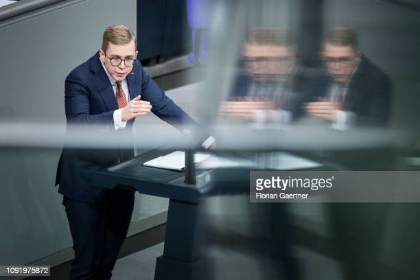 Philipp Amthor CDU is pictured during the meeting of the German Bundestag on February 01 2019 in Berlin Germany